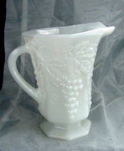 Anchor Hocking Vintage Grape Pattern Skim Milk Glass Small Pitcher
