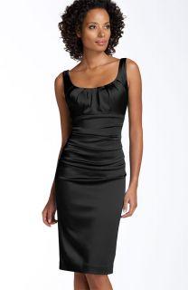 Suzi Chin Ruched Stretch Satin Little Black Dress 8