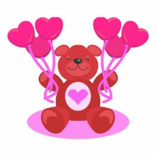 cute valentine teddy bear design cut out