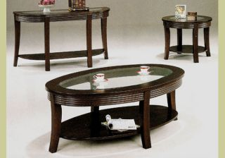 Cappuccino Wood Coffee Table Set End Tables Glass Top
