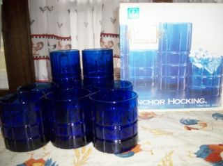Set 8 1995 Anchor Hocking Tartan Cobalt Blue Glasses
