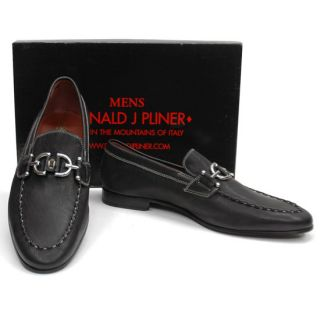 New $342 Donald J Pliner Lino Italy Black Bit Loafers Shoes Men 7 5 M