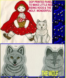 Fabric Panel Make One Little Red Riding Hood The Wolf Basket Cape Doll
