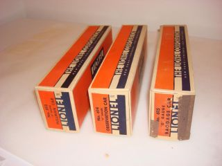 1935 Lionel red/Silver 613, 614 and 615 Passenger car boxes only R