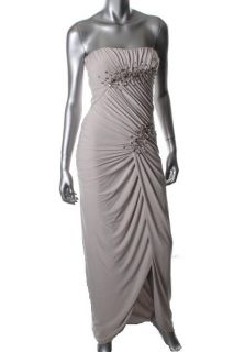 LM Collection by Mignon New Tan Long Sweetheart Jeweled Front Formal
