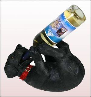 Black Lab Wine Liquor Bottle Holder Hand Painted New