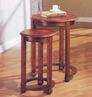 Dark Cherry Nesting Table Wooden Coffee Wood End Tables