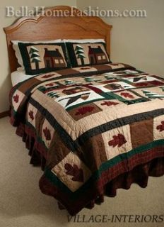 Lodge Bear Winter Cabin Woods 100 Cotton Queen Quilt Shams Set