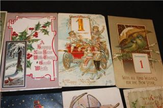 Lot of 18 Vintage Postcards New Years Day Model T Automobiles Early