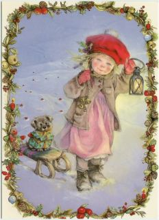 Lisi Martin Artist Signed Little Girl in Snow Holding Lantern Puppy on