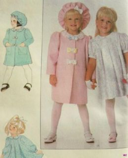 Charming Girls Sunday Dress Coat Hat Pattern Sz 3 6