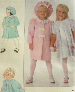 Charming Girls Sunday Dress Coat Hat Pattern Sz 3 6