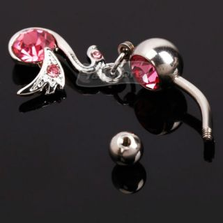 Alloy Navel Belly Button Ring Body Jewelry Piercing Pink Rhinestone