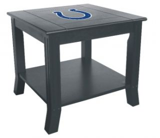 Colts Side Table Wood End Table Black NFL Logo Night Stand