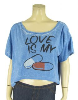 Local Celebrity Blue Crop Tee Sz s Love Is My Drug Graphic Shirt T