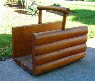 Vtg Firewood Rack Log Cabin Design Rustic Fireplace Front Door Utility