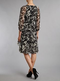 Lauren by Ralph Lauren Korinne printed silk wrap dress Black & Ivory