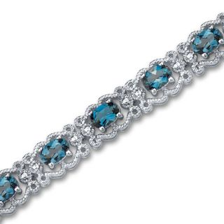 50 cts Oval Cut London Blue Topaz Gemstone Bracelet in Sterling