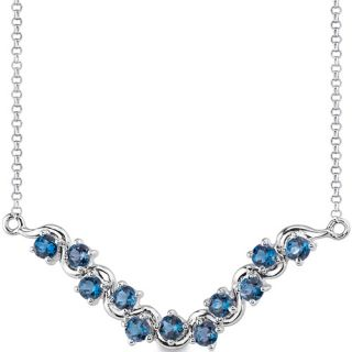25 cts Round London Blue Topaz Gemstone Pendant Necklace in Sterling