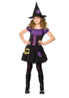 Little Girls Black Cat Witch Dress and Hat Kids Childrens Halloween