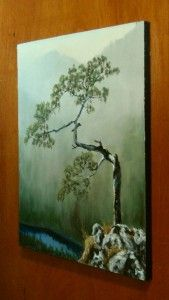 Lone Mountain Pine Tree Landscape Oil Painting 12 x 16 Inches