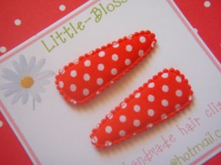Red Spot Duo Pair of Non Slip Baby Hair Clips Handmade Made to Match