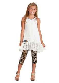 New Girls Boutique Peaches N Cream Sz 4 Ivory Lace Leopard Outfit