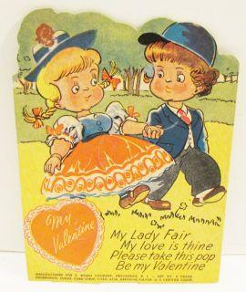ROSEN VALENTINE LOLLIPOP HOLDER CARD 1940s MY LADY FAIR BOY & GIRL