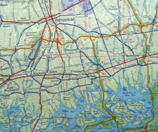 FLYING A TYDOL OIL NEW YORK CITY & LONG ISLAND HIGHWAY ROAD MAP 1956