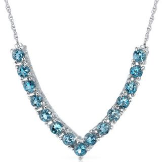 00 cts Round London Blue Topaz Gemstone Pendant Necklace in Sterling