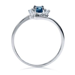 Natural London Blue & White Topaz 925 Sterling Silver Ring Size/Sz 6