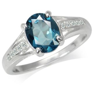 23ct Natural London Blue White Topaz 925 Sterling Silver Ring