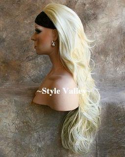 Blonde 3/4 Fall Hairpiece Half Wig Long Wavy Light Blond Hair Piece