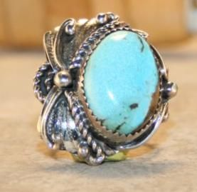 Sterling Silver Lone Mountain Turquoise Ring Size 6