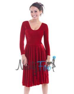 Teal Blue Velvet Ballroom Waltz Dance Midcalf Long Dress Costume S 2XL