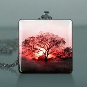 Lone Tree Large Glass Tile Necklace Pendant B09