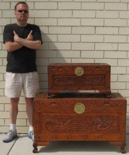HAND CRAFTED TEAK WOOD CHINESE DOUBLE HAPPINESS SMALL CHEST STACKABLE