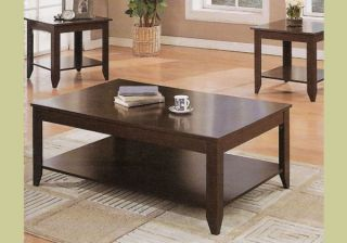 Cappuccino Wood Coffee Table Set Wooden End Tables New