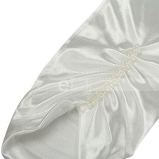 White Elegant Satin Long Wedding Pearl Bridal Gloves