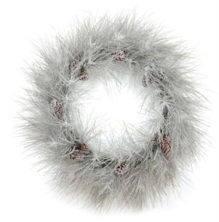 This artificial snow covered long needle pine wreaths make a beautiful