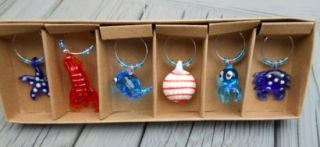 Lobster Wine Charms Blown Glass Sea Creature Nautical Colorful Drink