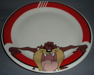 Tazmania Devil Looney Tunes Plate Gibson China Red White Retro Pottery