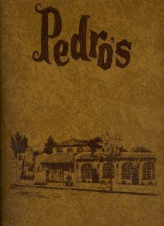 Pedros Mexican Restaurant Menu Los Gatos California 1981