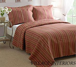 Lodge Terra Cotta Brick Brown Stripe Queen Quilt Set