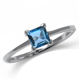 Natural London Blue Topaz 925 Sterling Silver Solitaire Ring Size Sz 7