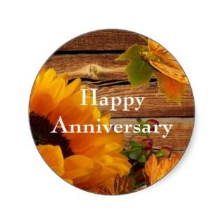 Happy Anniversary Stickers Round Sunflower Fall