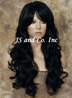 Human Hair Blend Wig Long Layered Wavy Curly Heat Safe with Bangs Off