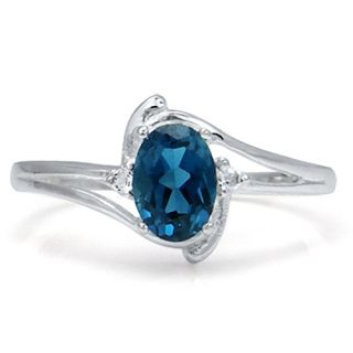 1ct Natural London Blue White Topaz 925 Sterling Silver Ring Size Sz 9