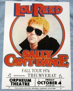 Lou Reed Concert Poster Boston Sally CanT Dance Tour Triumverat