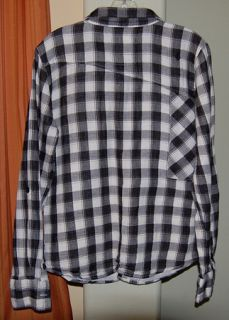 White Black Cotton Checkered Plaid Shirt Youth Boys Large